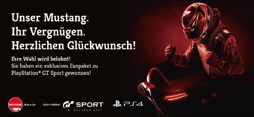 """Pole Position: unsere Aktion """"Unser Mustang. Ihr Vergnügen."""" mit Buchbinder Rent-a-Car und PlayStation's Gran Turismo™"""