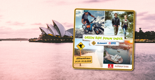 Wir radeln im Tandem mit GIANT und ROADSIGN australia auf dem GREEN RIDE DOWN UNDER