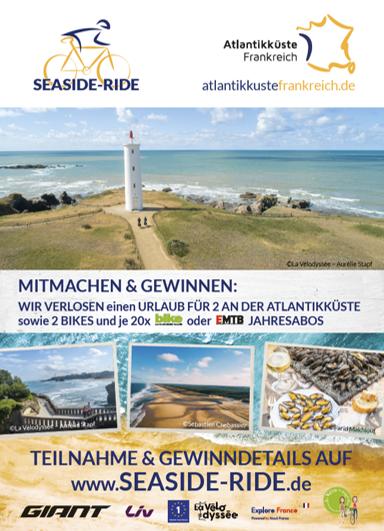 """Für Atout France radeln wir mit Giant – dem weltgrößtem Fahrradhersteller – und weiteren starken Partnern zum """"SEASIDE-RIDE"""" an die Atlantikküste"""